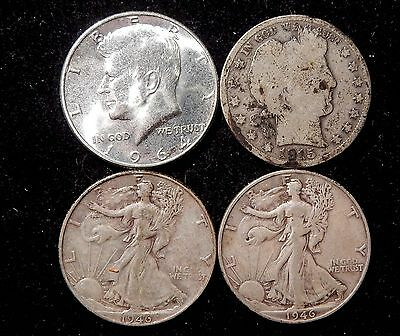 4 US silver half dollars 1915D, 1946, 1946S, and a BU 1964 Kennedy