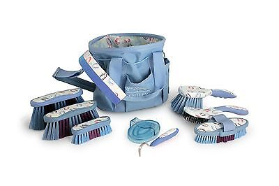 Bentley Equestrian Patterns Deluxe Blue Horse Grooming Set Brush Kit Gift