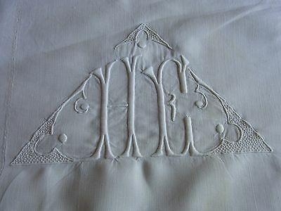 Drap 12 ancien fil lin blanc monogramme HE 200x300cm OLD LINEN SHEET EMBROIDERED
