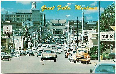 Central Avenue Business District in Great Falls MT Postcard