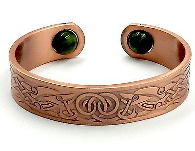 Celtic Copper Bracelet with rotating Connemara Marble beads - Unisex