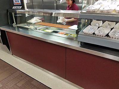 Cold Serving Counter 9FT Long with Sneeze Guard - Used