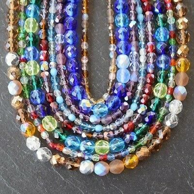 Czech Fire Polished Faceted Round Beads *4Mm, 6Mm & 8Mm *mixed Colour Strings