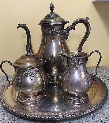 International Prelude Sterling Silver Coffee Tea Set Hand Chased 366C Antique