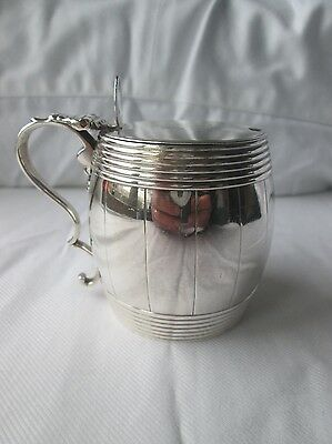 Novelty George III Silver Barrel Shape Mustard Pot. London 1782.