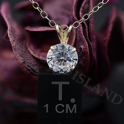 2.5 CT Round Brilliant Cut Real 14k Solid Yellow Gold Pendant Chain Necklace 18""