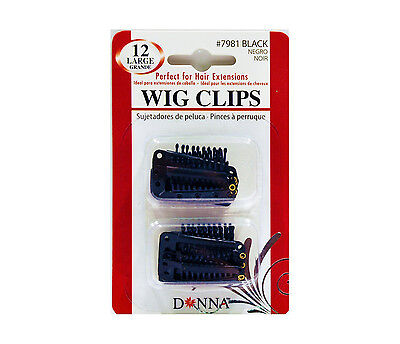 Donna Wig Clips Perfect for Hair Extensions 12pk Large #7981 Black