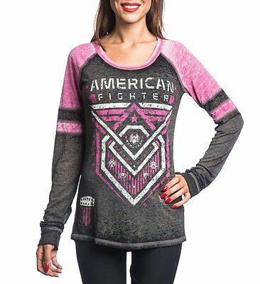 AMERICAN FIGHTER Womens LS T-Shirt KENDRICK Athletic Biker Gym MMA UFC $52