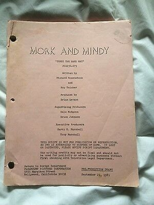 "Mork and Mindy Television script ""three the hard way ""1981"
