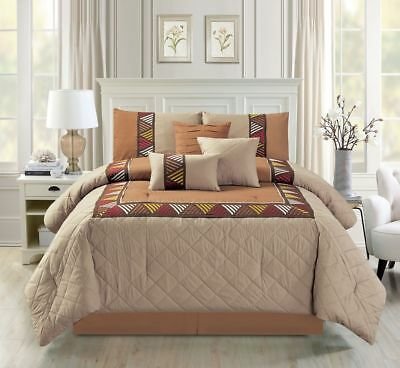 11 Piece Lattice Embossed Taupe/Coffee Bed in a Bag Set
