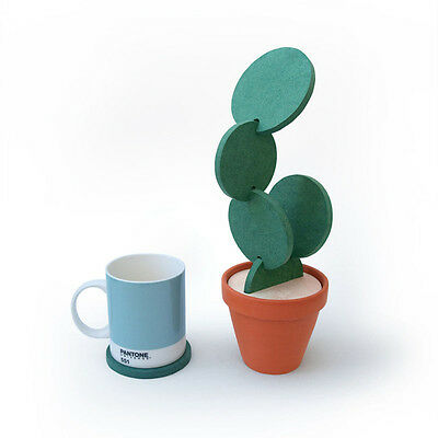 DIY Cactus Shaped Coasters Nonslip Cup Coaster Heat Insulation  home Decoration