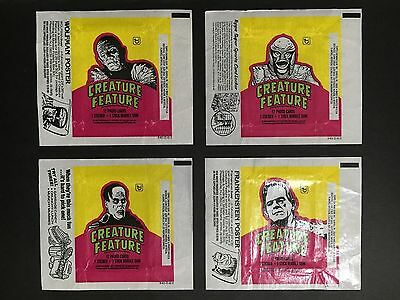 CREATURE FEATURE WRAPPER SET OF 4 FROM 1970's BY TOPPS