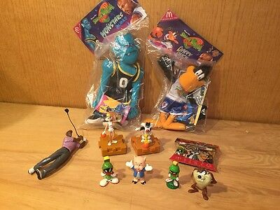 7 McDonalds SPACE JAM FIGURES lot PLUSH Daffy Duck Monstars Blanko & Green Bang