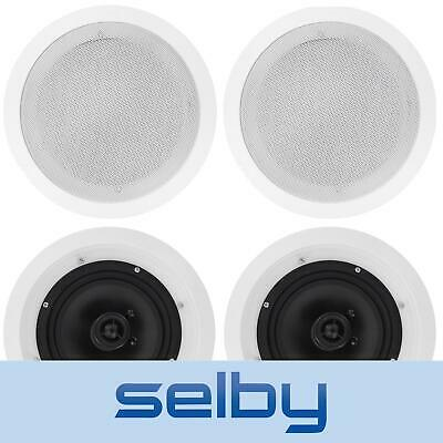 4 x 8inch 2 Way Home Theatre In-Ceiling Speakers Carbon Cones 150W RRP$218