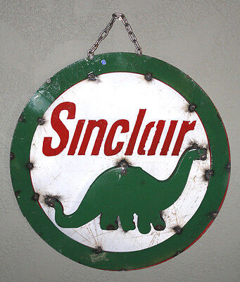 Metal SINCLAIR Gasoline Sign Gas Oil Garage Man Cave Home Decor Recycled  DINO