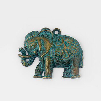 Large Antique Greek Bronze Elephant Retro Charms Pendants Jewelry Findings