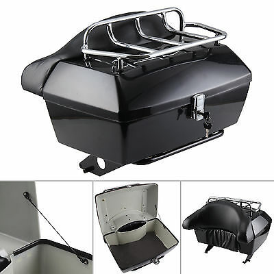 XL Motorcycle Top Box Trunk Luggage Case Release Tail Rack Backrest 48L