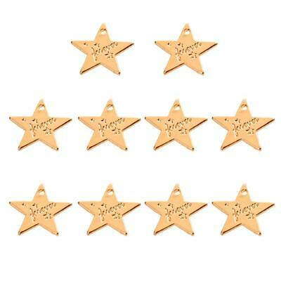 10x Golden Forever Star Charms Pendants DIY Bracelet Necklace Jewelry Making