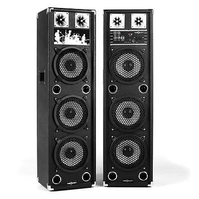 DJ PA PACK SONO AMPLIFIE 2x ENCEINTE 3 x SUBWOOFER 20CM USB MP3 SD MIC IN NEUF