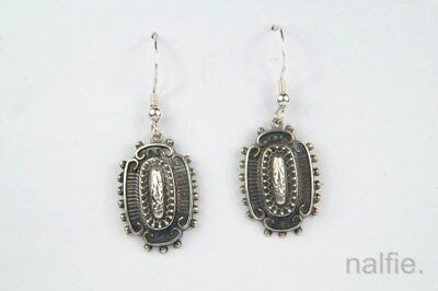PRETTY ANTIQUE ENGLISH VICTORIAN PERIOD STERLING SILVER EARRINGS c1890