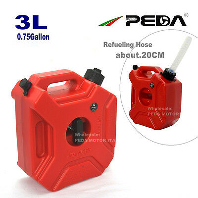3L Portable Jerry Can Gas Diesel Fuel Tank Pack w/ Lock ATV Motorcycle Scooter