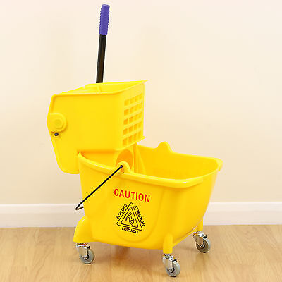 Professional Yellow Mop Bucket & Wringer Combo Cleaning Commerical/Industrial