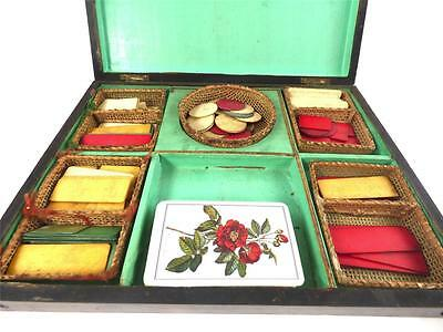 Antique French Wooden Box With Gaming Tokens Gambling Original Fittings