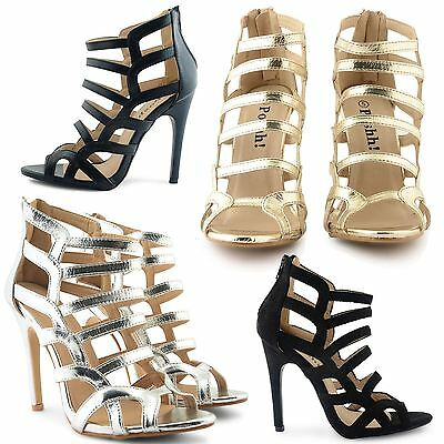 Ladies Womens Party Prom Bridal Glitzy Evening High Heels Shoes Sandals Size