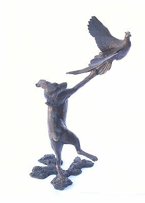 Spaniel & Pheasant Solid Bronze Sculpture by Michael Simpson Shooting Gift 806