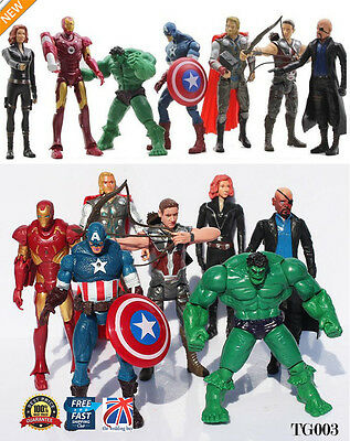 7pcs The Avengers Action Figure Marvel Hulk Captain Hawkeye Ironman Thor TG003