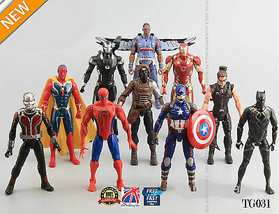 10pcs The Avengers Captain America Spiderman Iron Man Action Figures Toys TG033