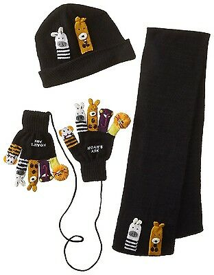 Promo Kidorable Child Knitted Noah's Ark Knitwear Sets Black Scarf Hat Gloves