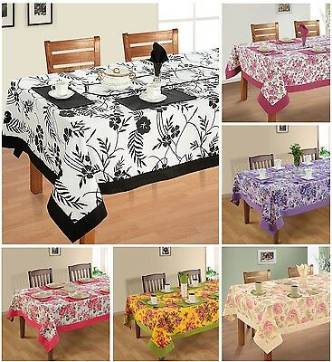 6 Seater Dining / Table / Kitchen Table Linen Printed Cloth Set - 100% Cotton