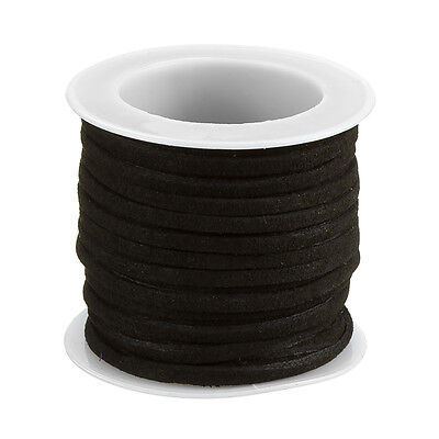 Flat Faux Suede Cord Lace (1.5x3mm) Black - 5 meter Reel (F71)