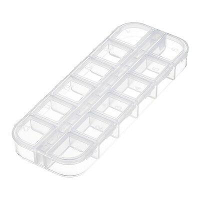 Plastic 130x50x15mm Seed Bead Container Storage Box 12 Compartments (G62)