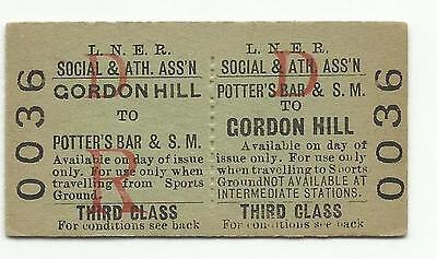 LNER ticket, Potters Bar & South Mimms to Gordon Hill