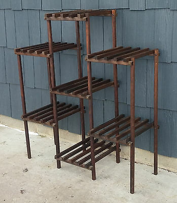 Vintage Mid-Century Wooden Slat 7 Tier Plant Stand Rack Display Floor Shelf