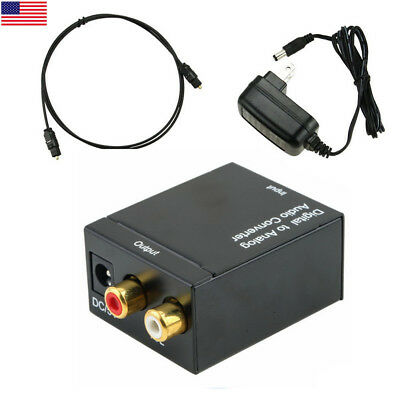 TV Optical Coaxial Digital to RCA L/R Analog Audio Converter Headphone Out US