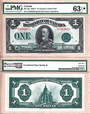 SEQUENTIAL SERIAL# PAIR PMG CH UNC63 EPQ DC-25j 1923 $1 KGV DOMINION OF CANADA