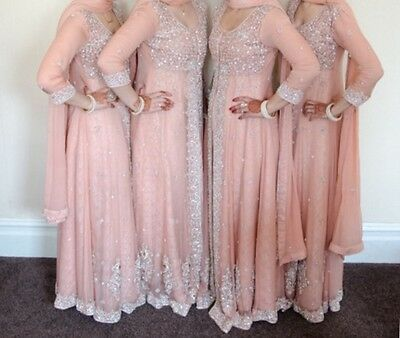 Pakistani/Indian peach bridesmaid party dresses by Noor's designer gallery