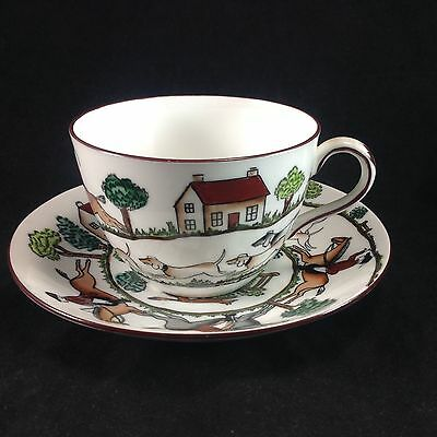 Crown Staffordshire Hunting Fox Dogs Horses Scene Cup Saucer Teacup 12744