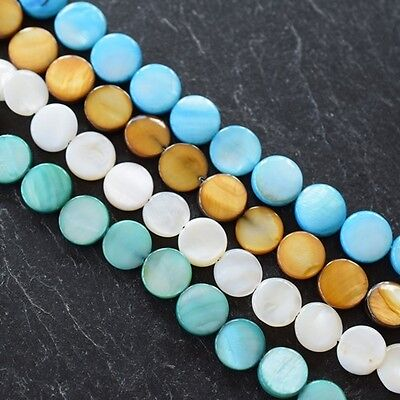 Shell Round Flat 10Mm Discc Beads In Various Colours