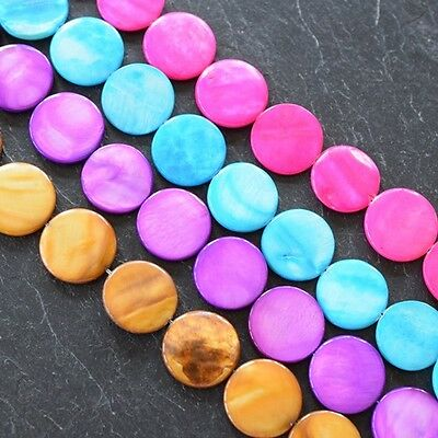 Shell Round Flat 20Mm Discc Beads In Various Colours