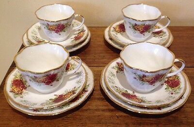 "4 ""queens"" Stratford  Tea Trios -Bone China-England"