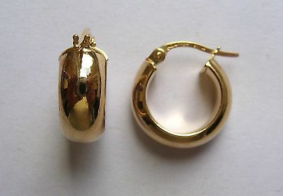 1.5cm wide 9ct Gold D-shape highly polished Wedding band Hoop Earrings 1.2g