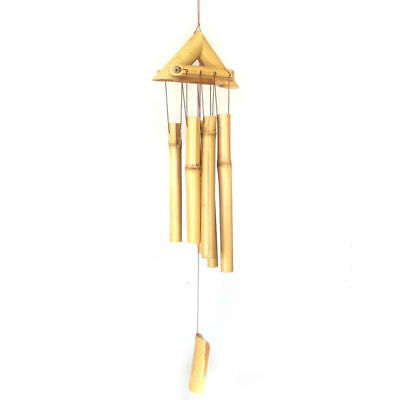 Wind Chime Bamboo Wood *61cm Drop* Garden Ornament Triangle Feng Shui