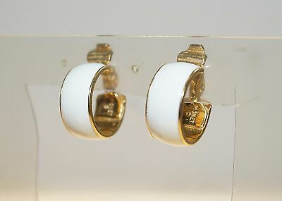 Vintage Monet White Enamel Gold Tone Hoop Clip On 3 4 Earrings