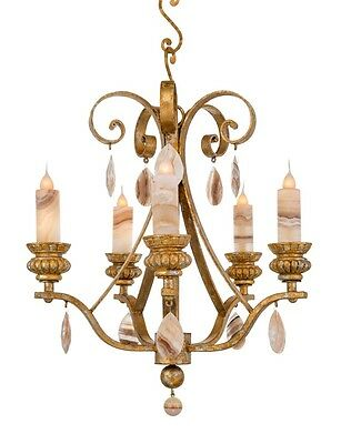 Old French Style 5 Light Hand Crafted Wrought Iron Chandelier
