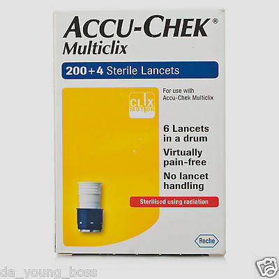 Accu Chek Multiclix Lancets Box of 200+4 Accu Check **BRAND NEW & SEALED**