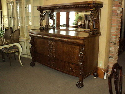 Winged Griffin Quarter Sawn Oak Buffet, circa 1890's, ON SALE!